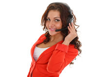 Happy business woman with headset. Happy young business woman with headset on a white background. Operator of support service Stock Images