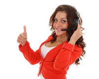 Happy business woman with headset. Stock Photography
