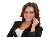 Happy business woman with headset. Royalty Free Stock Images