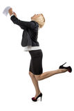 Happy business woman with her hands up Royalty Free Stock Images