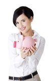 Happy business woman with her savings Royalty Free Stock Photo
