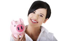 Happy business woman with her savings Stock Photography