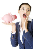 Happy business woman with her savings Stock Photo