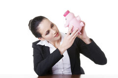 Happy business woman with her savings Stock Images