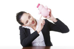 Happy business woman with her savings Stock Photos