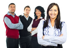 Happy business woman and her team Stock Photo