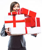 Happy Business woman hold gift box. White background isolated Royalty Free Stock Image