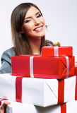 Happy Business woman hold gift box. White background isolated. Female model Royalty Free Stock Photo