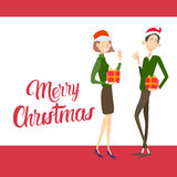 Happy Business Woman  Hold Present Box Gift Merry Christmas And  New Year Stock Images