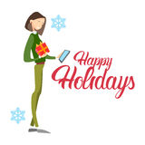 Happy Business Woman Hold Present Box Messaging Online Phone Merry Christmas And Happy New Year. Flat Vector Illustration Royalty Free Stock Photography