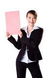 Happy business woman holding a blank board. Happy smiling business executive holding a f4 size blank board Stock Image