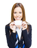 Happy Business Woman Holding Blank Business Card Royalty Free Stock Photo