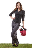 Happy business woman holding boxing gloves Royalty Free Stock Photos