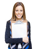 Happy Business Woman Holding Empty Blank Board Stock Photography