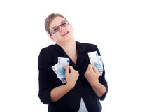 Happy business woman holding Euro banknotes Stock Photo