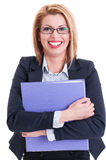 Happy business woman holding a folder Stock Images