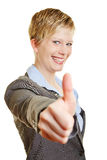 Happy business woman holding her thumbs up Stock Photography