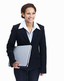 Happy business woman holding laptop on white Stock Photos