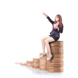 Happy business woman holding pink piggy bank Stock Photo