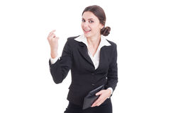 Happy business woman holding wallet and showing money gesture Royalty Free Stock Photos