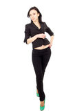 Happy Business Woman In Black Suit Stands Stock Photos