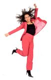 Happy business woman jumping Stock Image