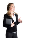 Happy business woman. Happy business lady holding laptop and stretches out her hand for a handshake, isolated on white background, modern society, career concept Stock Images