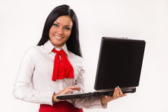 Happy business woman with laptop Royalty Free Stock Photo