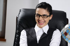 Happy business woman laughing Stock Image