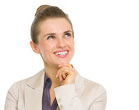 Happy business woman looking on copy space Royalty Free Stock Image