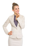 Happy business woman looking on copy space Stock Image