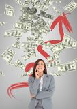 Happy business woman looking at money rain against grey background with arrow. Digital composite of Happy business woman looking at money rain against grey Royalty Free Stock Photo