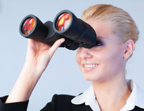 Happy business woman looking outwards Stock Image