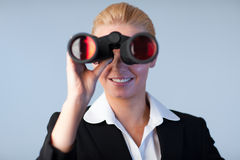 Happy business woman looking outwards Stock Photography