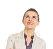 Happy business woman looking up on copy space Stock Photography