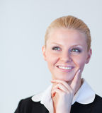 Happy Business woman looking upwards Stock Photography
