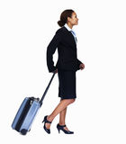 Happy business woman with luggage on white Royalty Free Stock Images