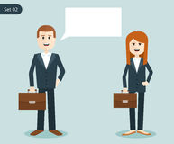Happy business woman and a man with portfolios. businessmen say. Stock Photography