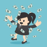 Happy business woman money rain throwing money up Business conce Stock Images