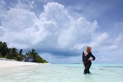 Happy business woman on the ocean coast Royalty Free Stock Image