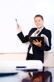 Happy business woman in the office stock photo