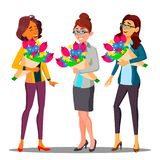 Happy Business Woman In Office With Bouquets Of Flowers Vector. Illustration vector illustration