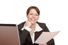 Happy  business woman in office holding a contract Stock Images
