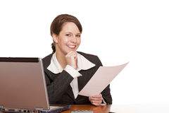 Happy  business woman in office holding a contract Royalty Free Stock Photography
