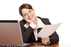 Happy  business woman in office holding a contract Stock Image