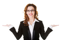 Happy business woman with open hands. Stock Photography