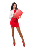 Happy business woman over white Royalty Free Stock Photos