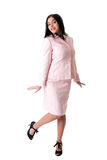 Happy business woman in pink suit Stock Images
