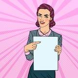 Happy Business Woman Pointing on Blank Paper Sheet Presentation. Pop Art retro illustration. Happy Business Woman Pointing on Blank Paper Sheet Presentation. Pop stock illustration
