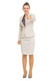 Happy business woman pointing in camera Royalty Free Stock Photography